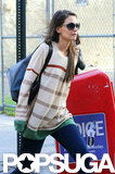 Katie Holmes wore a striped shirt in NYC.
