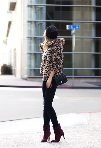 See what a little leopard and burgundy can do for your look? This chic mix took a turn for the luxe, thanks to a supple animal-print coat and statement-making booties. Source: Lookbook.nu