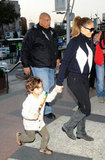 Jennifer Lopez held Max Anthony's hand.