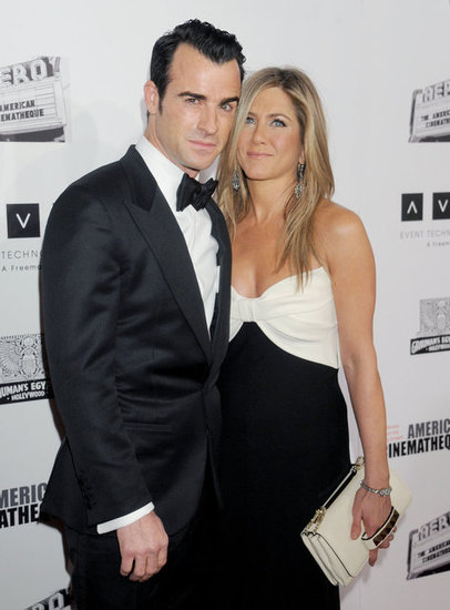 Jennifer Aniston and Justin Theroux posed for photos at the American Cinematheque Awards.