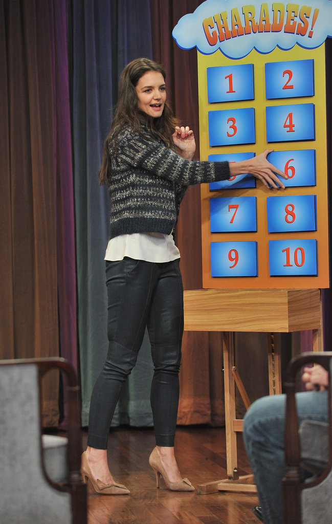 Katie Holmes played a game during her visit to Late Night With Jimmy Fallon.