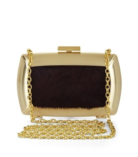 The metallic finish and textural inset on this BCBG Max Azria Liza Haircalf Minaudiere ($178) will impress any sartorial eye.
