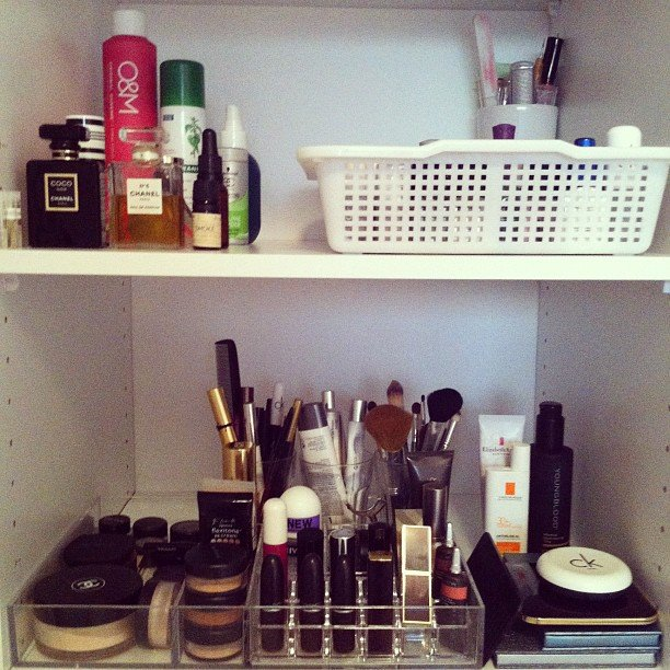 This is what our beauty editor's personal beauty collection looks like. Pretty neat, huh?