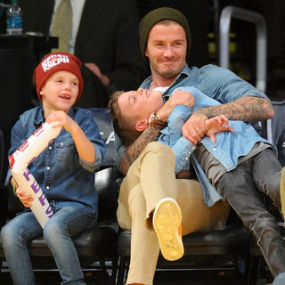 Romeo, Cruz, Brooklyn And David Beckham At Basketball Game