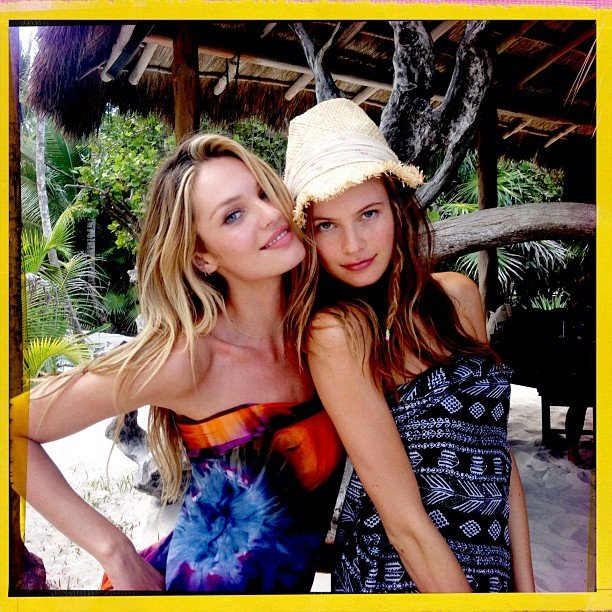 Candice Swanepoel and Behati Prinsloo — both Victoria's Secret Angels from Africa — played coy for Ben Watts. Source: Instagram user wattsupphoto