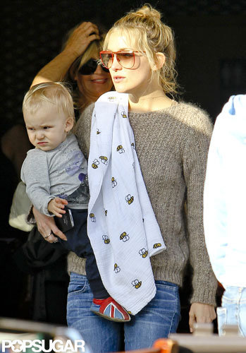 Kate Hudson held Bingham Bellamy at her mom Goldie Hawn's birthday lunch.