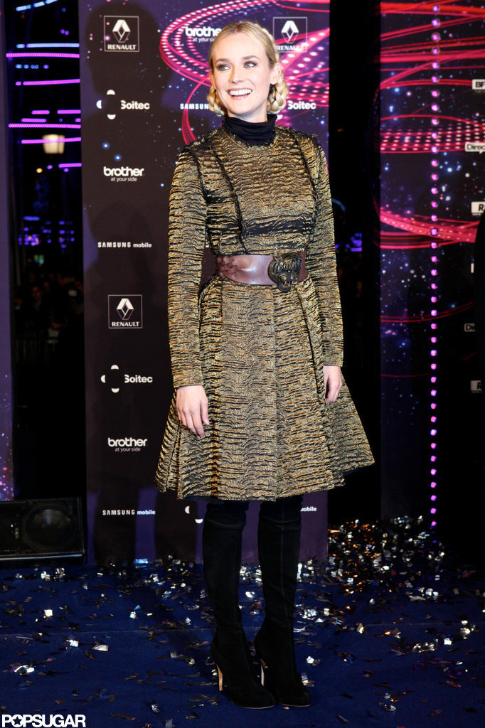Diane Kruger helped launch the holiday lights in Paris.