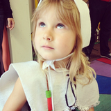 Stella McDermott showed off her pilgrim costume on Turkey Day. Source: Instagram user torianddean