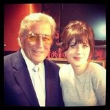 Zooey Deschanel bonded with fellow Late Night With Jimmy Fallon guest Tony Bennett. Source: Instagram user zooeydeschanel