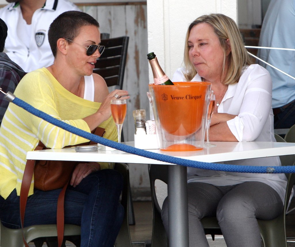 Charlize Theron and her mum, Gerda, enjoyed a bottle of Champagne.