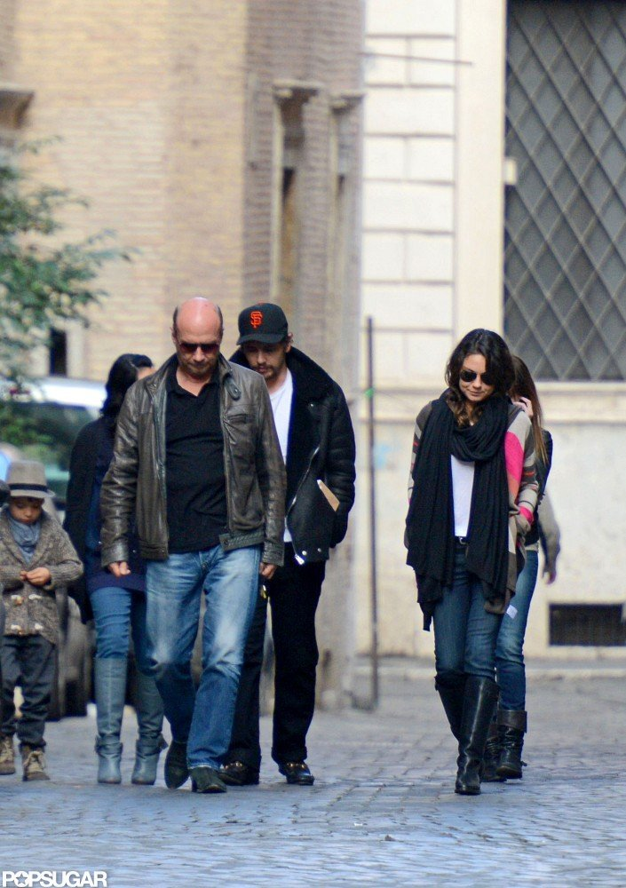 Mila Kunis stepped out in Rome with James Franco.