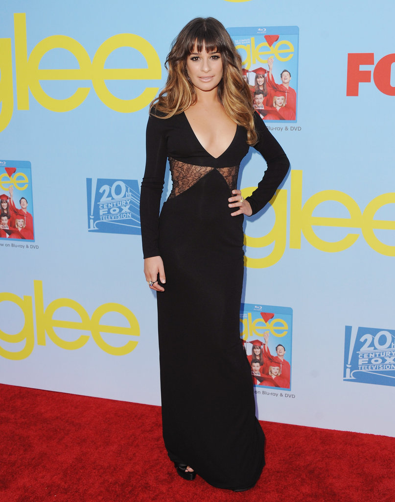 Lea Michele showed off a little skin via darted lace cutouts at the Glee premiere in LA.