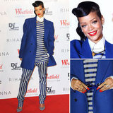 Rihanna Wear Mens Acne Striped Suit on the Red Carpet