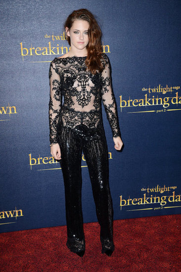 Kristen Stewart dared to bare in a sequined and lace Zuhair Murad jumpsuit at the London premiere of Breaking Dawn Part 2.