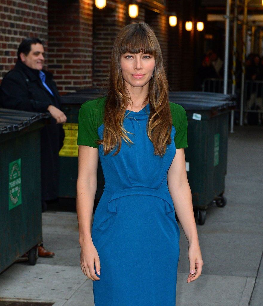 Jessica Biel wore a dress to appear on the Late Show in NYC.