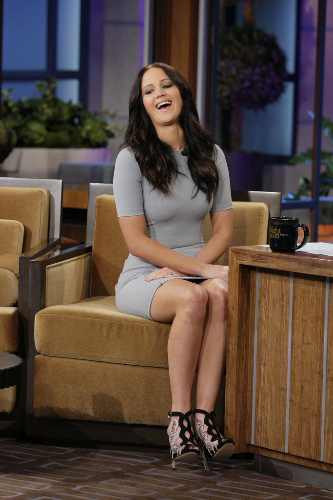 Jennifer Lawrence Rocks a Tight Gray Dress on The Tonight Show