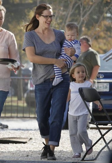 Sam and big sis Seraphina joined their mom on the set of The Dallas Buyer's Club in New Orleans this past November. Little Sam wore a blue-and-white-striped one-piece while his mom and big sister were casual in jeans and sweatpants, respectively.