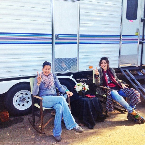 Emmy Rossum showed what trailer life is really like. Source: Instagram user emmyrossum