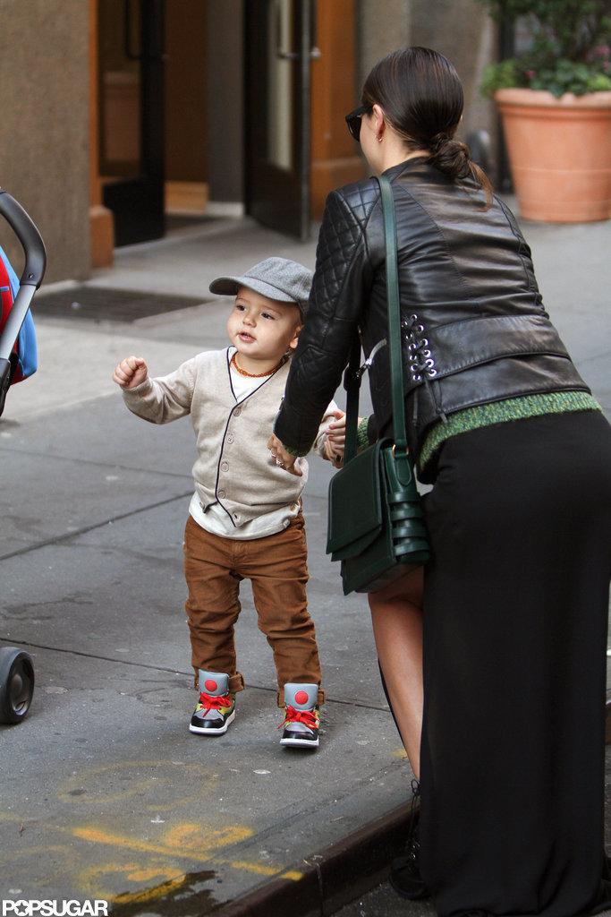 Miranda Kerr picked up her son Flynn Bloom in NYC.