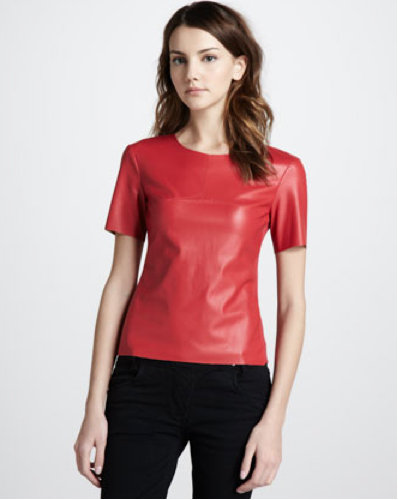 Try tucking this red-hot BCBG Max Azria Faux-Leather Top ($148) into a pencil skirt for a polished take on leather.