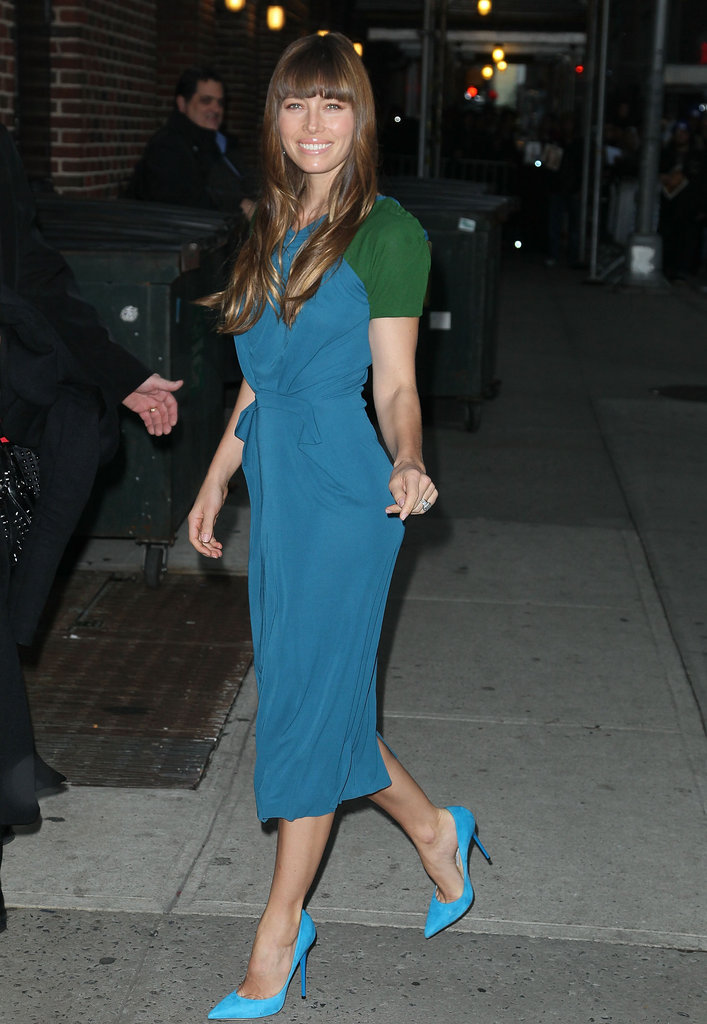 Jessica Biel stopped by the Late Show in a colorblocked Roland Mouret sheath.