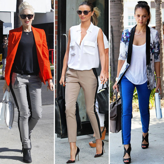 See which celebs are obsessed with the tuxedo pant trend — and why you should be too.
