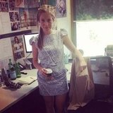 Ali wears her pretty Willow dress, which she accessoried perfectly with a cup of English Breakfast tea.