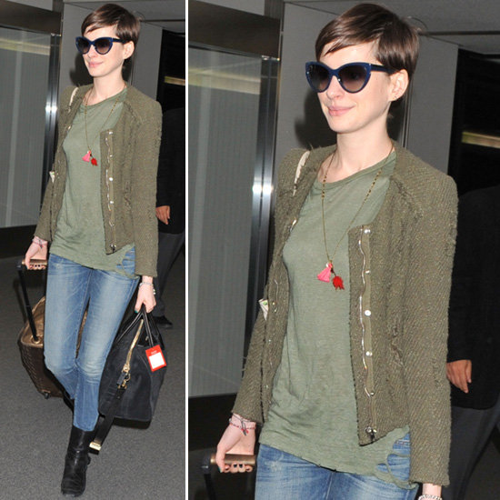 Anne Hathaway Outfits: Anne Hathaway Wearing Olive Jacket