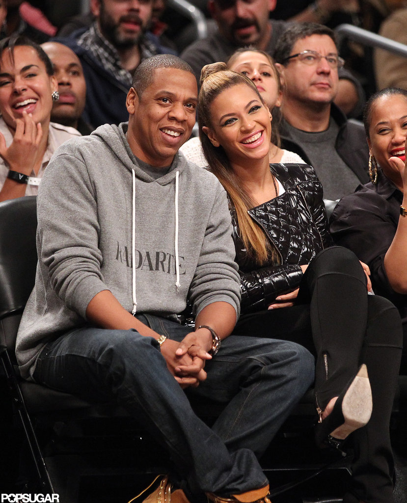 Beyoncé and Jay-Z smiled big during a Brooklyn Nets game.