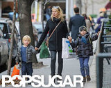 Sasha Schreiber and Kai Schreiber helped their mom, Naomi Watts, tote some shopping bags.