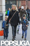 Sasha Schreiber and Kai Schreiber joined Naomi Watts for a city stroll.