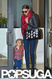 Miranda Kerr left a building in NYC with Flynn Bloom.