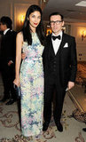 Caroline Issa posed with Erdem Moralioglu, wearing the designer's gorgeous floral-print gown.