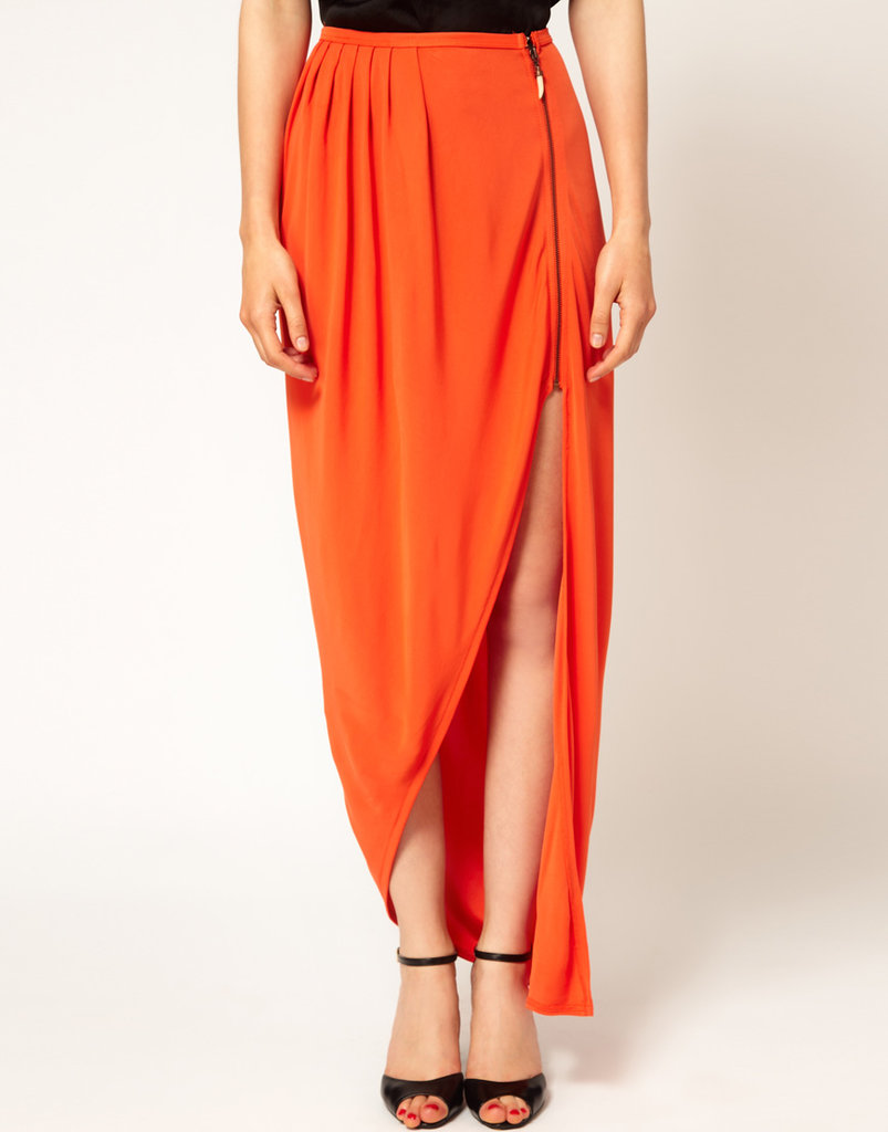 This Kore by Sophia Kokosalaki orange asymmetrical skirt ($207) is punchy in color and in silhouette.