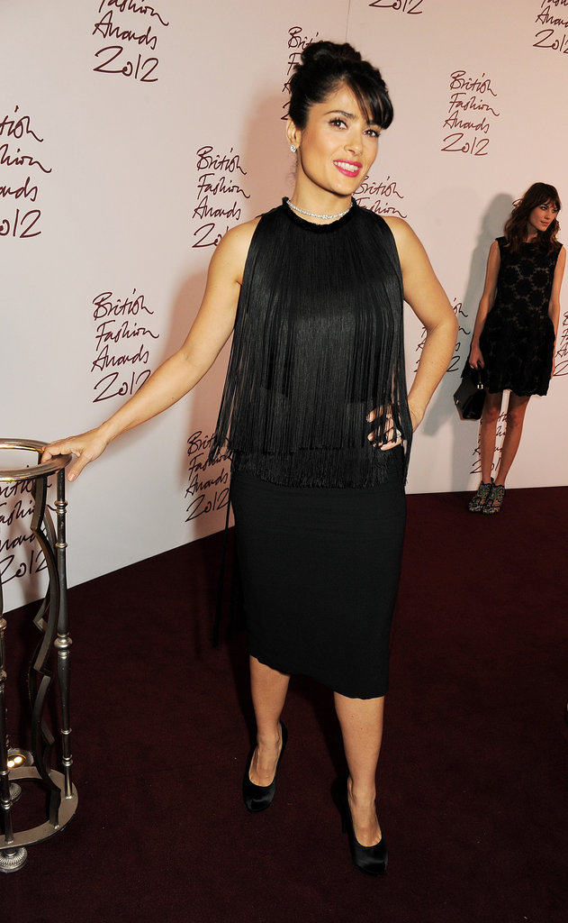 Salma Hayek arrived at the British Fashion Awards.