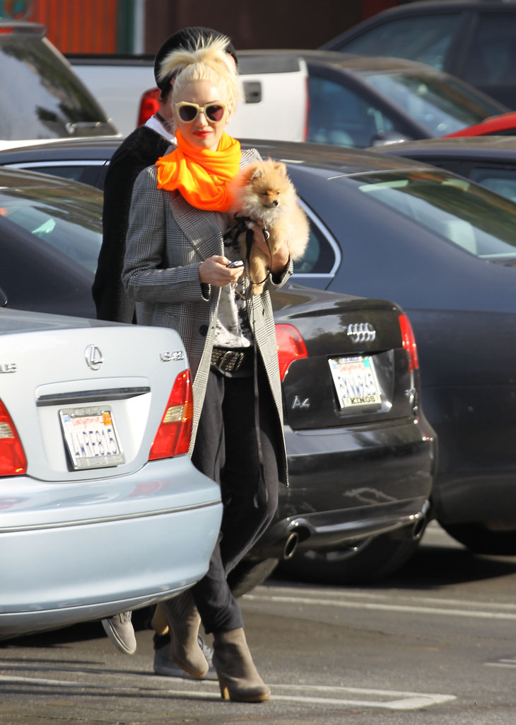 Gwen Stefani held on to her puppy.