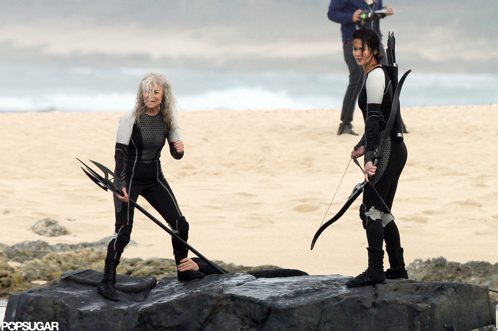 Jennifer Lawrence had her bow and arrow on the set of Catching Fire in Hawaii.