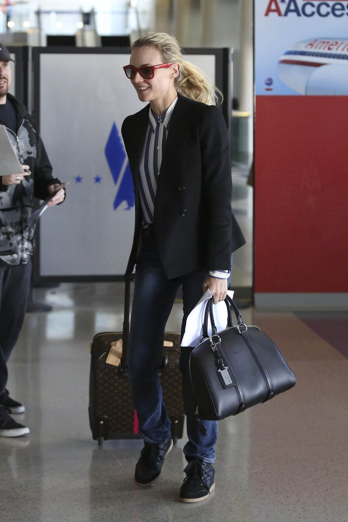 Diane Kruger wore stripes to the aiport.