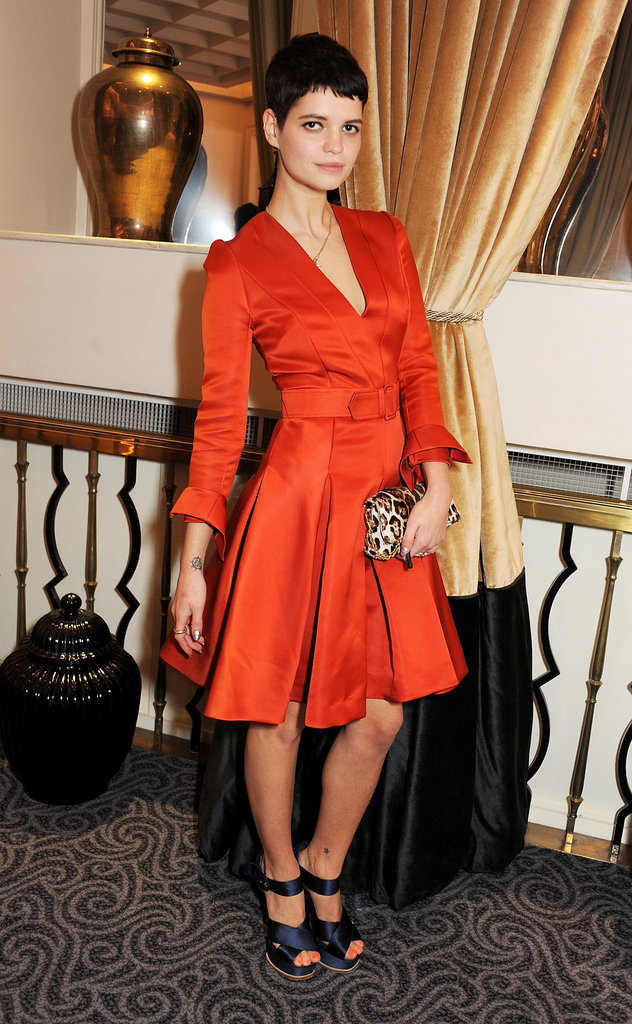 Pixie Geldof wore a bright orange dress.