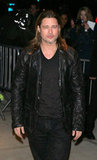Brad Pitt stepped out in a black leather jacket in NYC.