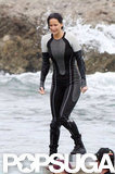 Jennifer Lawrence filmed for Catching Fire in the ocean.