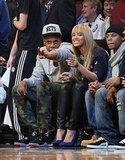 Jay-Z and Beyonce Knowles stepped out together for a basketball game in NYC.