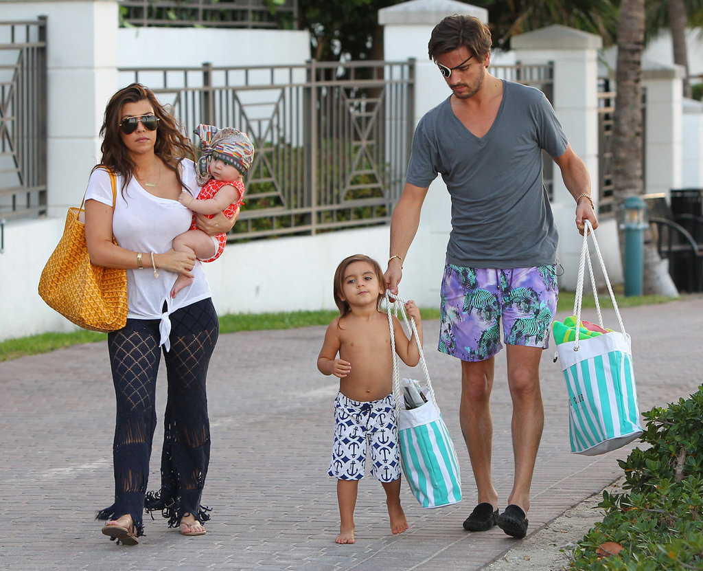 Kourtney Kardashian and Scott Disick took Mason and Penelope to the beach.