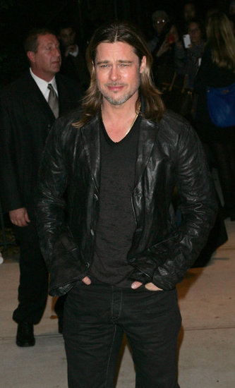Brad Pitt wore a leather jacket to the NYC screening of Killing Them Softly.