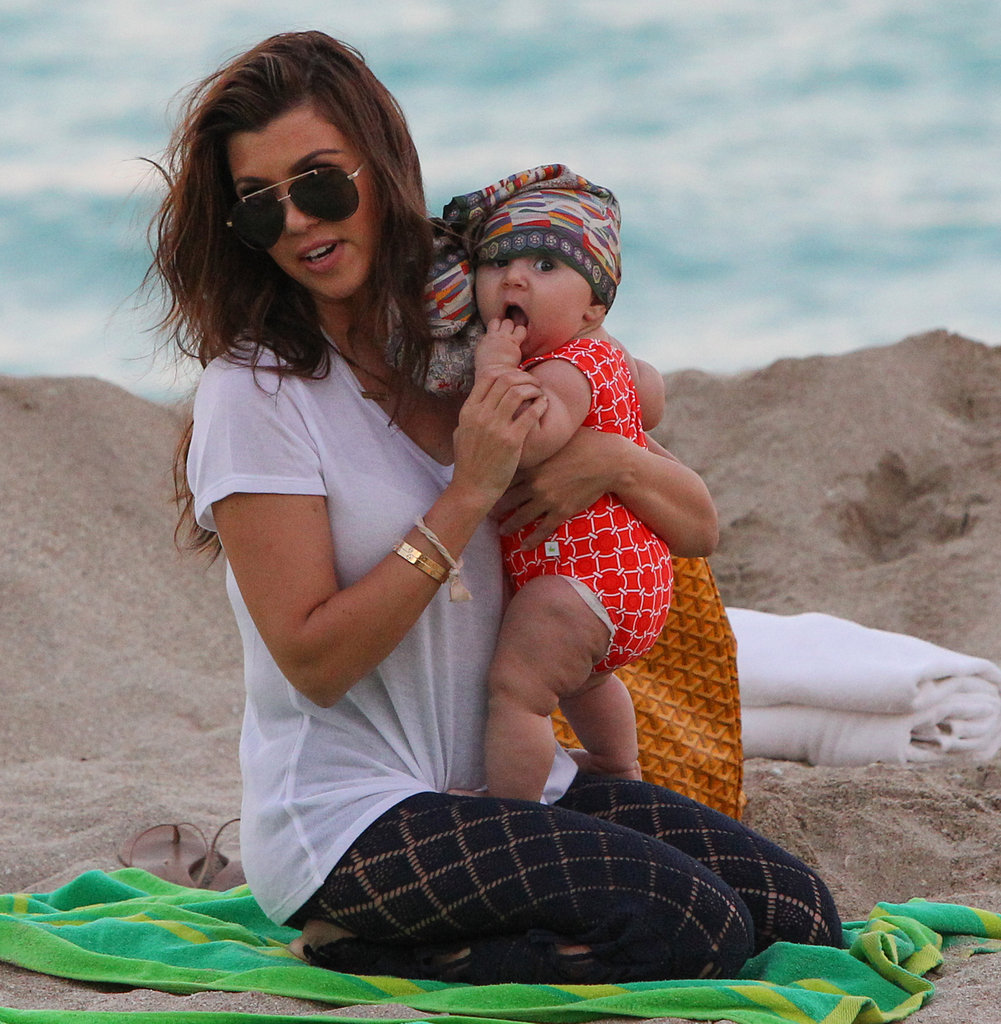 Kourtney Kardashian hung out with Penelope on the beach.