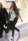 Kristen Stewart carried her bag through LAX.