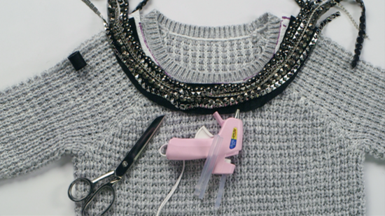 DIY: Give Your Sweater a Festive Embellished Collar