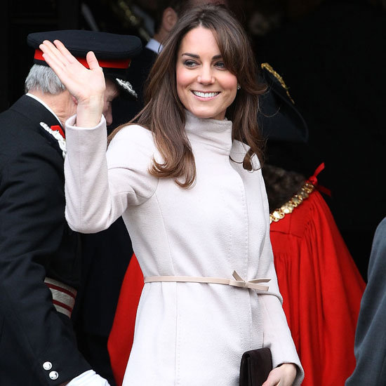 Kate Middleton Wearing White Bow Coat