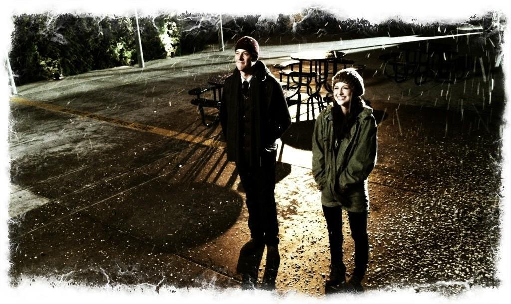 Finn and Marley have a little bonding time in the snow. Source: Twitter user MrRPMurphy