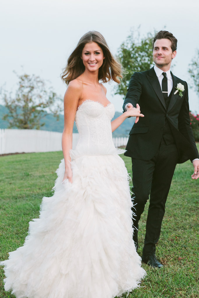 Kings of Leon's Jared Followill married a Monique Lhuillier-clad Martha Patterson in Charlotte, TN, in September 2012.  Source: Michael Howard Photography